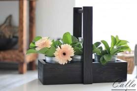 drevený podnos na 3 vedierka čierny