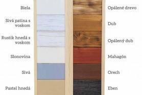 výber farieb pre drevenú uvítaciu tabuľu