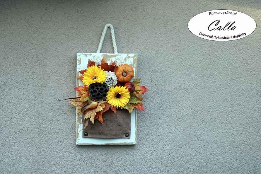 jesenná dekorácia na stenu