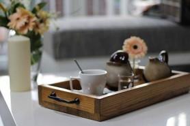 tácka na servírovanie kávy vyrobená ručne