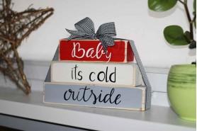 vianočná dekorácia so stuhou skladačka z hranolčekov