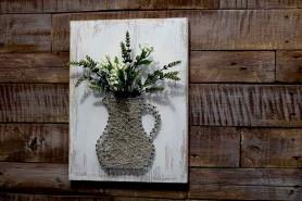 3D rustikálny obraz z klinčekov vo forme vázy zdobený kvetmi