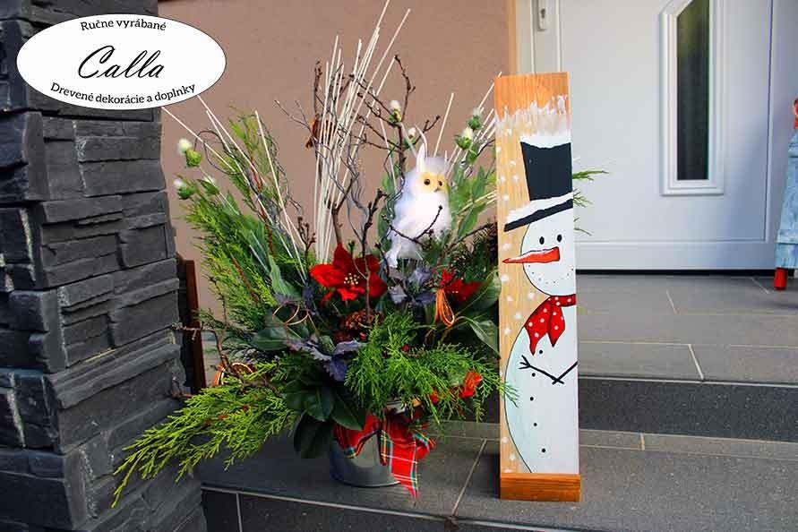 vianočná dekorácia snehuliak tabuľa pred dvere