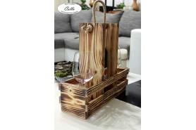 vinoteka na stôl vo farbe opálené drevo