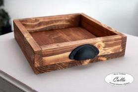 drevený podnos s rúčkami opálený dub