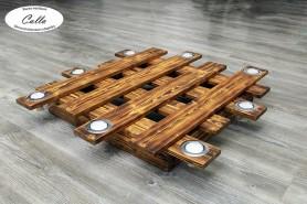 drevený luster s 8 led bodovými svetlami