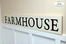 dreveny napis na stenu FARMHOUSE